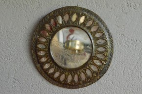 Miroir rond  vintage rétro soleil laiton patiné indus salle de bain collection  mix and match