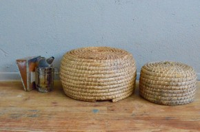 Ruche traditionnelle en paille de seigle panier ancien 1900 abeilles antic french bee hive