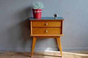Chevet vintage rétro pieds compas années 50 moderniste antic french furniture bedside table midcentury