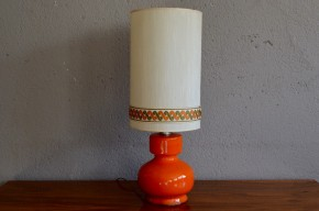 Lampe de table vintage rétro seventies pop céramique orange années 70 antic french deco table lamp