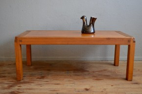 Table basse Pierre Chapo en orme massif et cuir design brutaliste minimaliste années 50 Edition Chapo antic french design table low elm leather midcentury