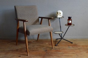 Fauteuil scandinave pieds compas années 60 tweed lainage à carreaux sixties vintage rétro antic french furniture scandinavian armchair