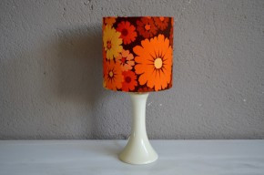 Lampe de table chevet flower power seventies pied tulipe vintage orange