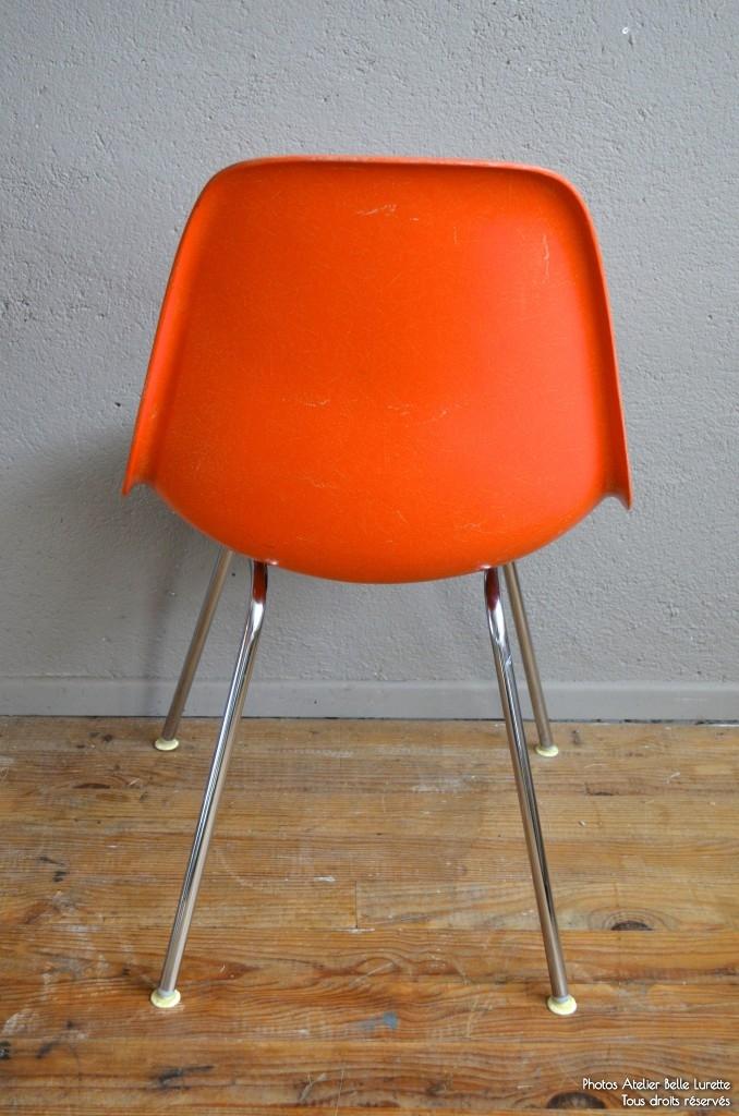 Chaises Charles Ray Eames DSX Plastic Chair Orange Pitement Chrom Annes 50 Coque Fibre De