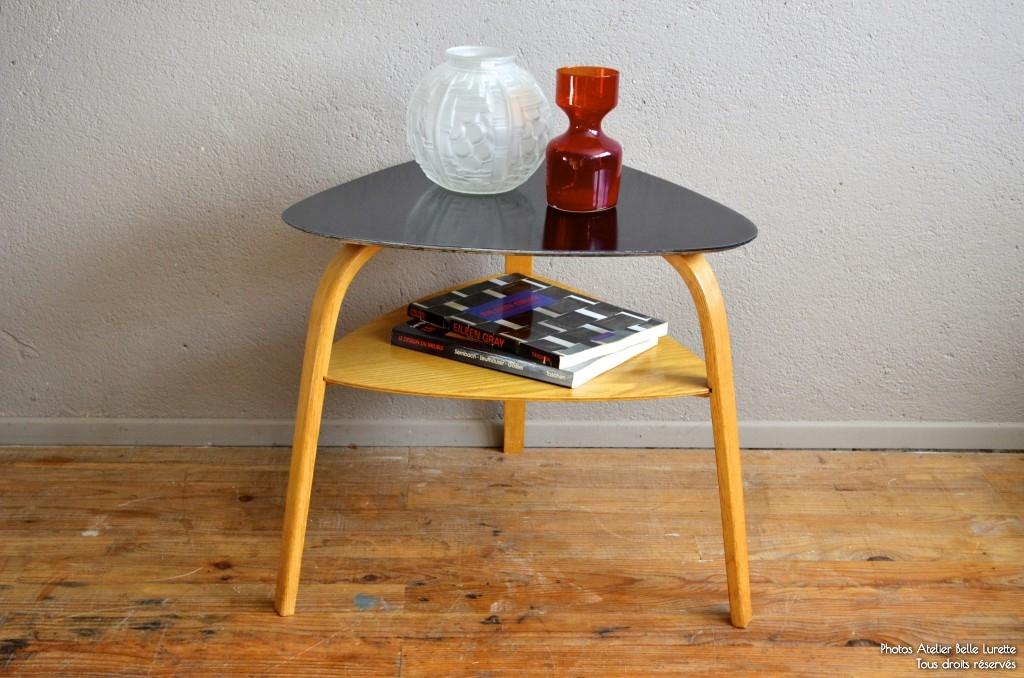 table basse hugues steiner tripode plateau mdiator annes 50 design en frne soldes