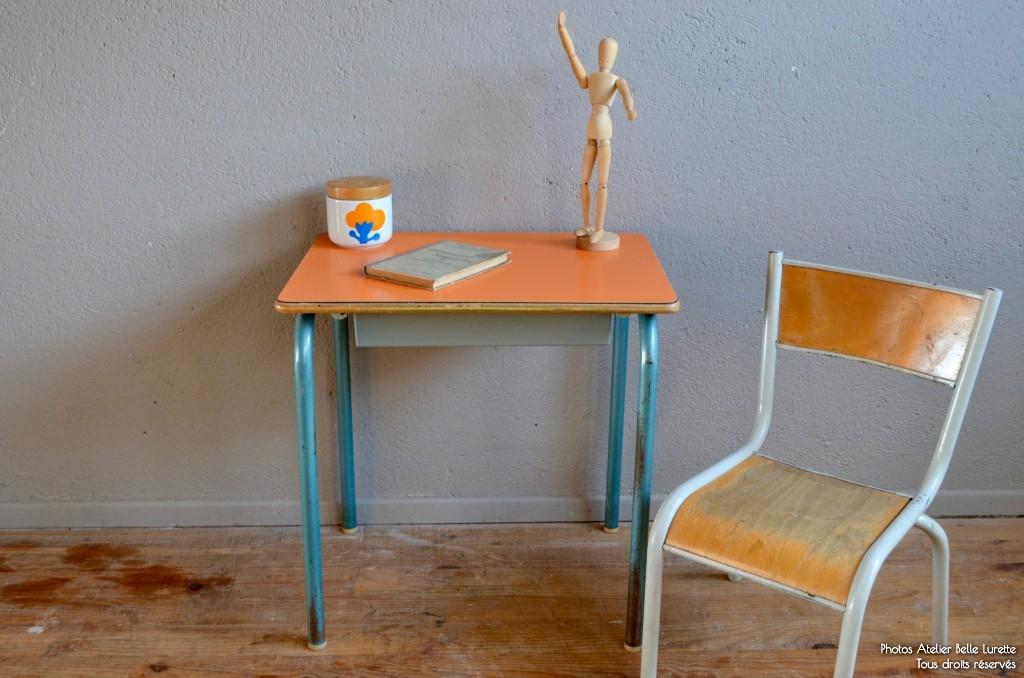 """Bureau et chaise d'écolier Lazare """"abricot"""""""