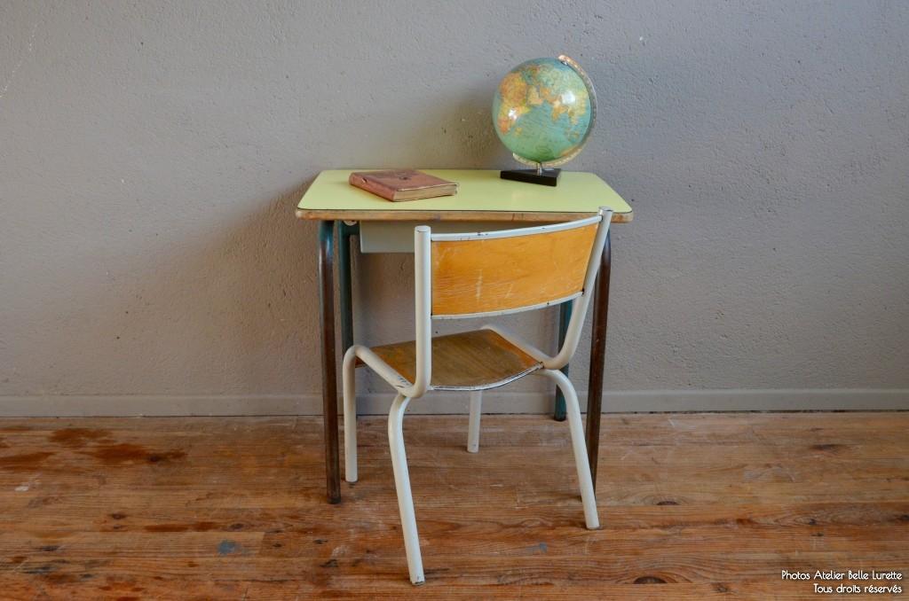 bureau et chaise d colier lazare mimosa l 39 atelier belle lurette r novation de meubles. Black Bedroom Furniture Sets. Home Design Ideas