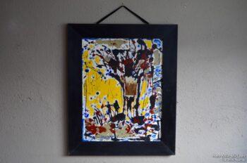 Technique mixte Paul Flickinger art brut expressioniste peinture peintre français huile