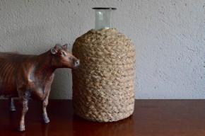 Bonbonne Dame Jeanne flacon verre soufflé 19e siècle ancienne col évasé french wine déco bistrot