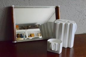 Plateau art déco chrome métal miroir vintage style design Adnet Desny 1930 ancien art de la table