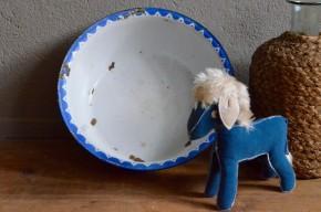 Bassine émaillée, métal, vintage, shabby chic, french décoration épicerie années 1920 art déco bleu blanc