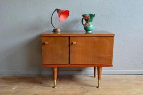 Enfilade petit meuble Chevet table de nuit vintage rétro piétement fuseau teck verni seventies joseph andré Motte