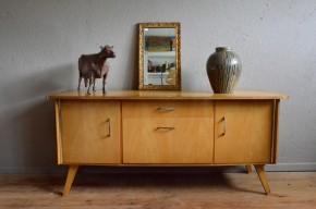 Enfilade bahut meuble TV Hifi meuble bas sideboard vintage rétro années 50 piétement compas scanidinave Pierre guariche