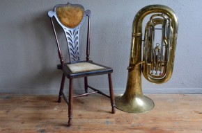 Tuba ancien Caravelle euphonium contretuba vintage rétro instrument de musique cuivre déco musique années 50 bohème curiosité
