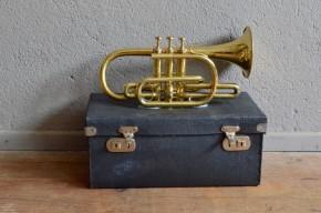 Trompette Bodsey Belley London ancien vintage rétro instrument de musique cuivre déco musique années 50 bohème curiosité antic brass trumpet bohemian deco midcentury