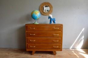 Commode vintage rétro pieds compas années 50 commode 4 tiroirs bois chambre enfant kid rétro scandinave chêne, commode à langer