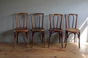 Chaises bistrot N56 Fischel Thonet Baumann  bois courbé ensemble dépareillé Belle Epoque café restaurant