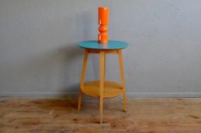 Guéridon vintage bout de canapé table basse d'appoint desserte pieds compas pastel handmade mademen 1950