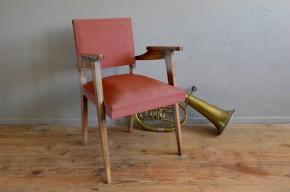 Fauteuil bridge scandinave pieds compas années 50 skaï rockabilly antic french armchair midcentury deco