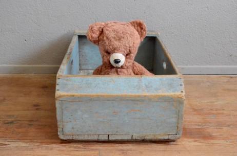 Caisse box coffre à jouet bac à linge ancienne déco ferme campagne étable vache rustique boho