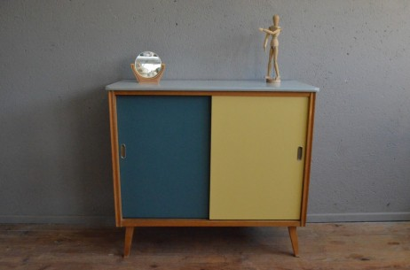 Bahut enfilade commode portes coulissantes vintage rétro pieds compas pop scandinave midcentury french furniture chest of drawers