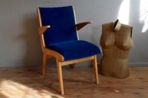Fauteuil scandinave vintagé rétro années 50 piétement compas bleu antic french armchair scandinavian design midcentury