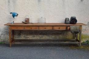 Table de drapier comptoir atelier établi bohème antic french furniture clothier table craft table bohemian decoannées 30 meuble de métier antique rustique boho wabi sabi