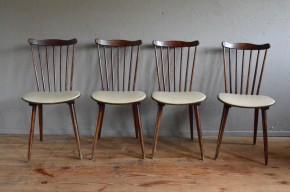 Chaises Baumann bistrot vintage rétro années 50 scandinaves pieds compas skaï blanc rustique antic french chairs midcentury