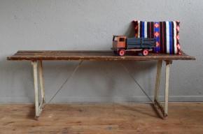 Banc indu rétro vintage métal bois école atelier wabi sabi antic indus bench midcentury french deco