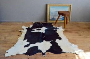 Tapis peua veau vache vintage rétro bohom bohème rustique déco chalet nature cow skin carpet bohemian rug antic