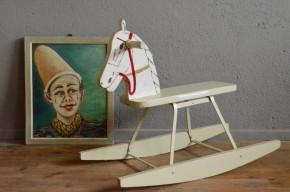 Cheval à bascule vintage rétro années 50 jeu enfant cadeau de naissance trotteur antic kid toy rocking horse french deco midcentury
