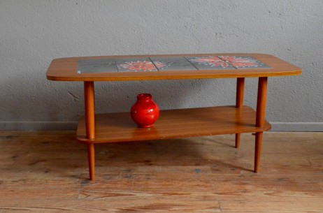 Table basse vintage rétro années 70 céramique fleur pop capron vallauris antic french table low seventies pop
