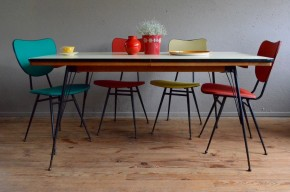 Table vintage rétro années 60 piétement épingle métal et formica pop sixties rockabilly antic table hairpin legs seventies