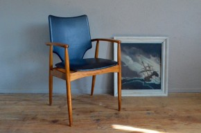 Fauteuil de bureau chaise design scandinave teck et skaï années 50 antic desk chair scandinavian deco midcentury fifties teak