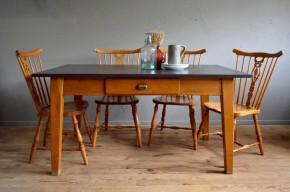 Table vintage rétro rustique ferme bohème années 50 antic french furniture woodent table bohemian deco midcentury
