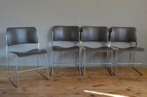 Chaises 40/4 David Rowland metal minimaliste années 50 empliable design vintage rétro midcentury chairs