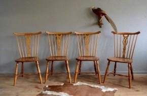 Chaises vintage rétro années 50 Suède Gemla Windsor antic set of chairs made in Sweden bois massif bohème bohemian deco midcentury rustique boho