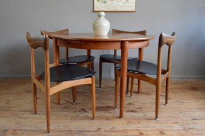 Ensemble table & chaises HW Klein vintage rétro design scandinave années 60 teck samcom Danemark antic table and chairs scandinavian furniture midcentury