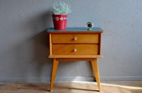 Chevet vintage rétro pieds compas années 50 moderniste antic french furniture bedside table midcentury
