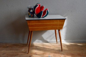Travailleuse boite à couture pieds compas vintage rétro années 50 formica antic french deco sewing box midcentury