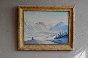 Tableau huile sur toile paysage d'hiver neige montage peinture alsacien Albietz PGA 1943