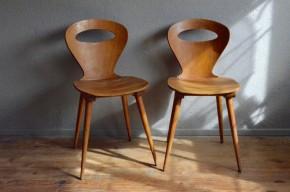 Chaises Baumann Fourmi bistrot années 50 vintage rétro rustique pieds compas moderniste futuriste antic french chair midcentury
