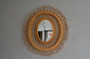 Miroir vintage rétro bohème rotin osier fleur années 60 antic french deco wicker mirror flower sunburst rattan mirror sixties bohemian deco