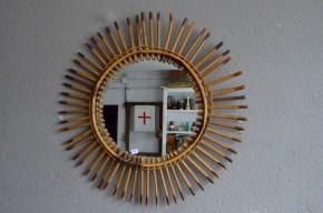 Miroir soleil rotin vintage rétro années 50 bohème sunburst mirror midcentury bohemian deco french mirror midcentury