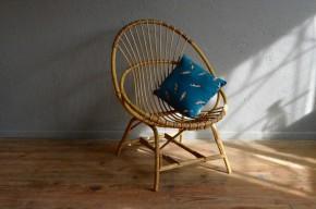 Fauteuil coquille en rotin vintage rétro bohème années 60 antic rattan armchair bohemian deco french furniture