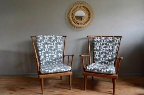 Un dossier éventail large, des formes généreuses, une assise accueillante et un look résolument vintage avec une touche scandinave ... tout est fait pour nous séduire dans ce joli modèle de fauteuil signé Baumann.