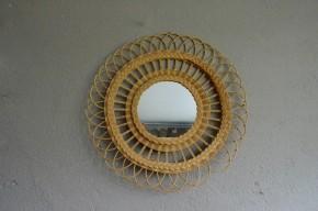 Miroir rond rotin osier vintage rétro années 60 bohème sunburst mirror seventies line vautrin chatty  soleil