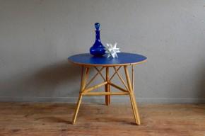 Guéridon en rotin années 60 vintage rétro années 60 antic rattant table low bohemian deco