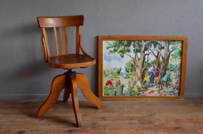 Fauteuil d'atelier meuble de métier fauteuil de bureau à vis Baumann années 50 indus vintage rétro antic french desk armchair