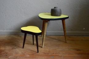 Table tripode formica jaune vintage piétement compas bohème années 50  porte plante pieds compas piriforme